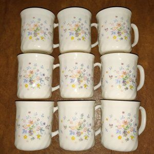 arcopal (France) 9pc Floral Mug Set each 8oz